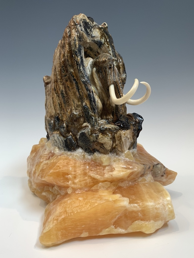 Walking Mammoth -  Fossilized Mammoth Molar Sculpture #380