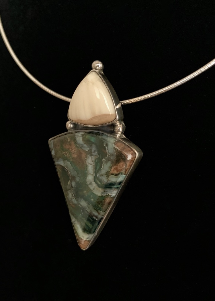 Fossil Mammoth Molar and Fossil Walrus Ivory Necklace #383
