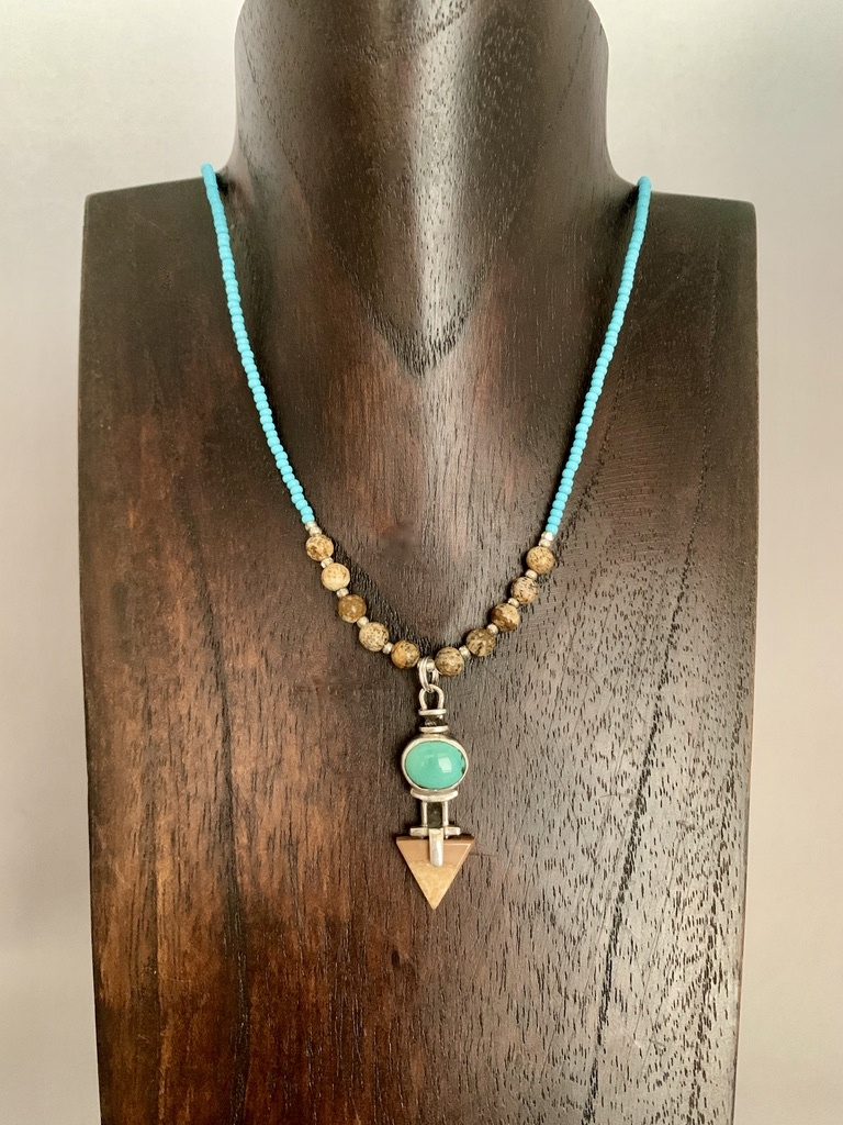 Turquoise and Fossil Walrus Ivory Necklace #384