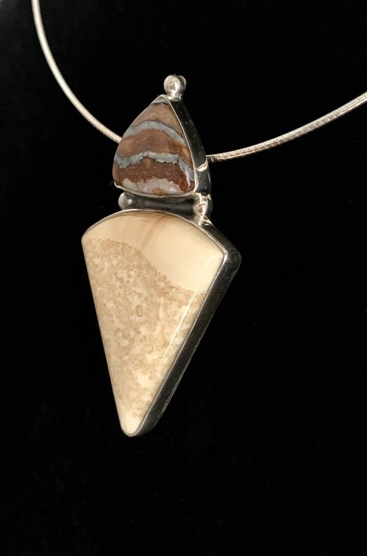 - Fossil Walrus Ivory and Fossil Mammoth Molar Necklace #386