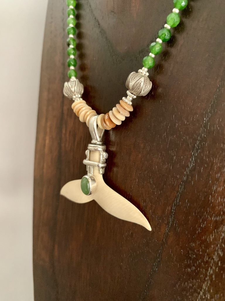 Alaskan Jade and Fossil Mammoth Ivory Necklace #388