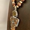 - Fossil Mammoth Molar, Amber, Silver Necklace #389