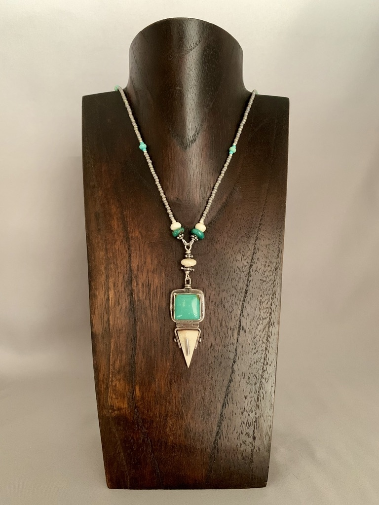 "-29"" Long Sea Glass Bead and Fossil Walrus Ivory and Turquoise Necklace #391"