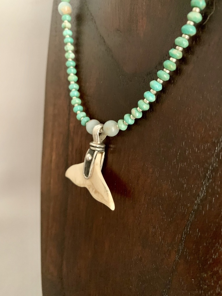 - Turquoise, Ocean Jasper and Fossil Mammoth Ivory Whale Fluke Necklace #392
