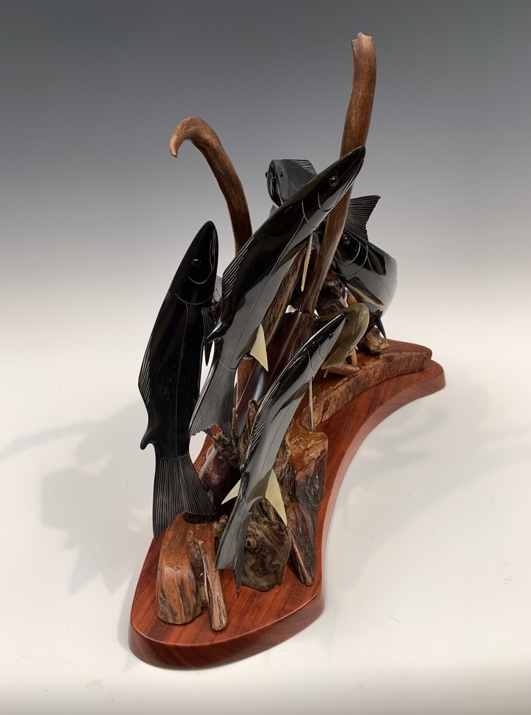 - Spawning Salmon - Buffalo Horn and Antler Sculpture #400