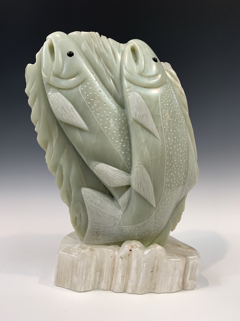 Spawning Salmon - Soapstone Sculpture #406