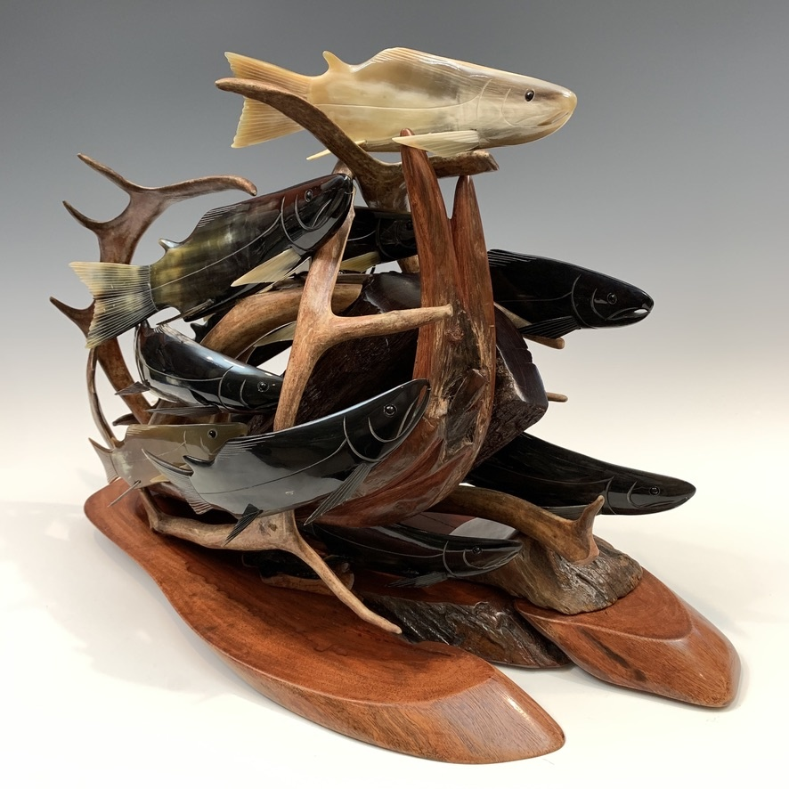 Spawning Salmon Sculpture #409