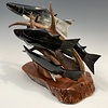 Spawning Salmon - Buffalo Horn and Antler Sculpture #412
