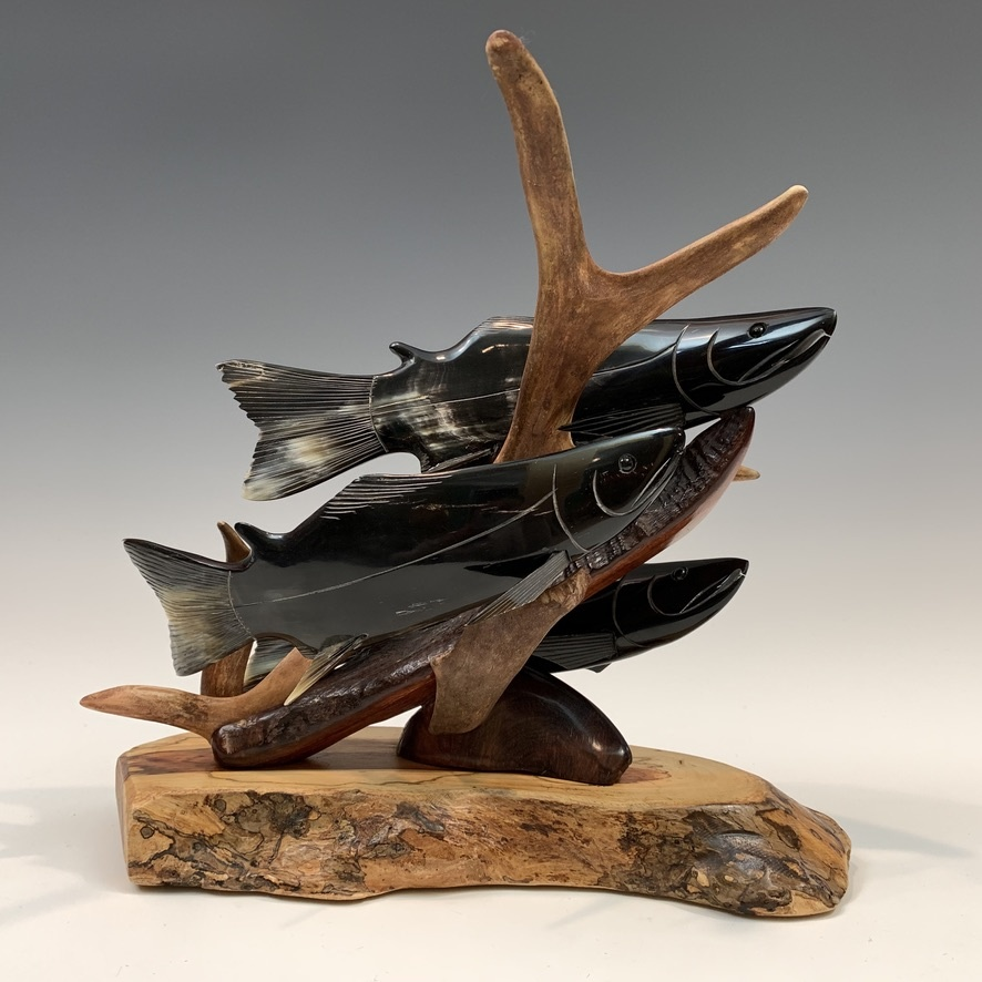 Spawning Salmon - Buffalo Horn and Antler Sculpture #413
