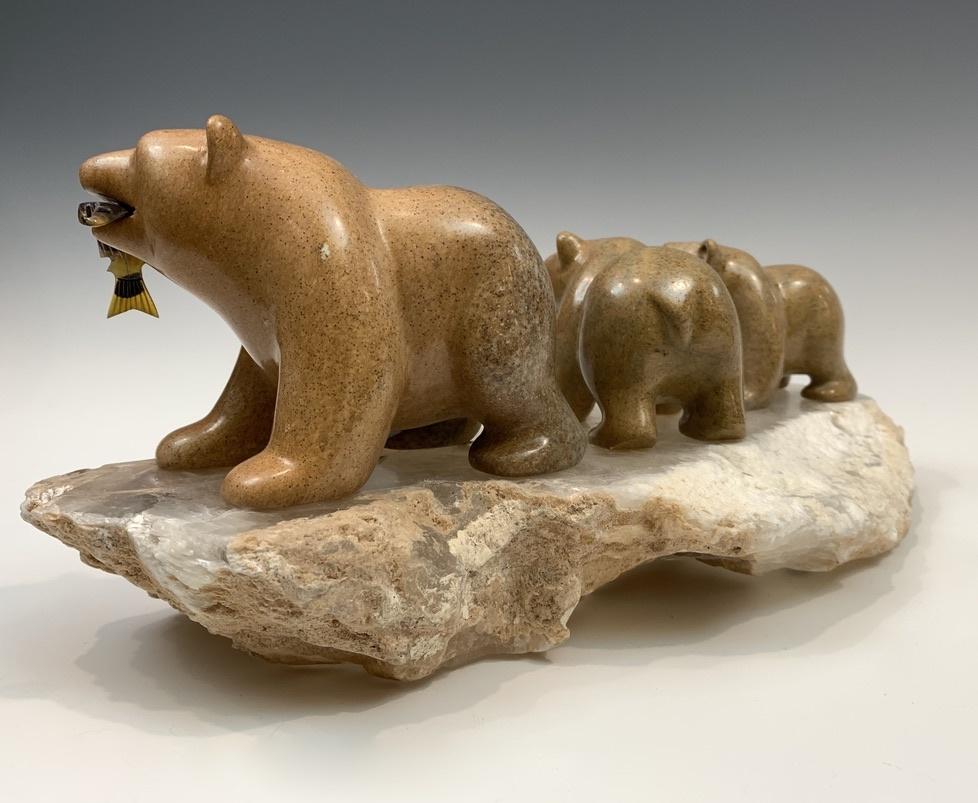 Bear Pack Family - Soapstone Sculpture #414