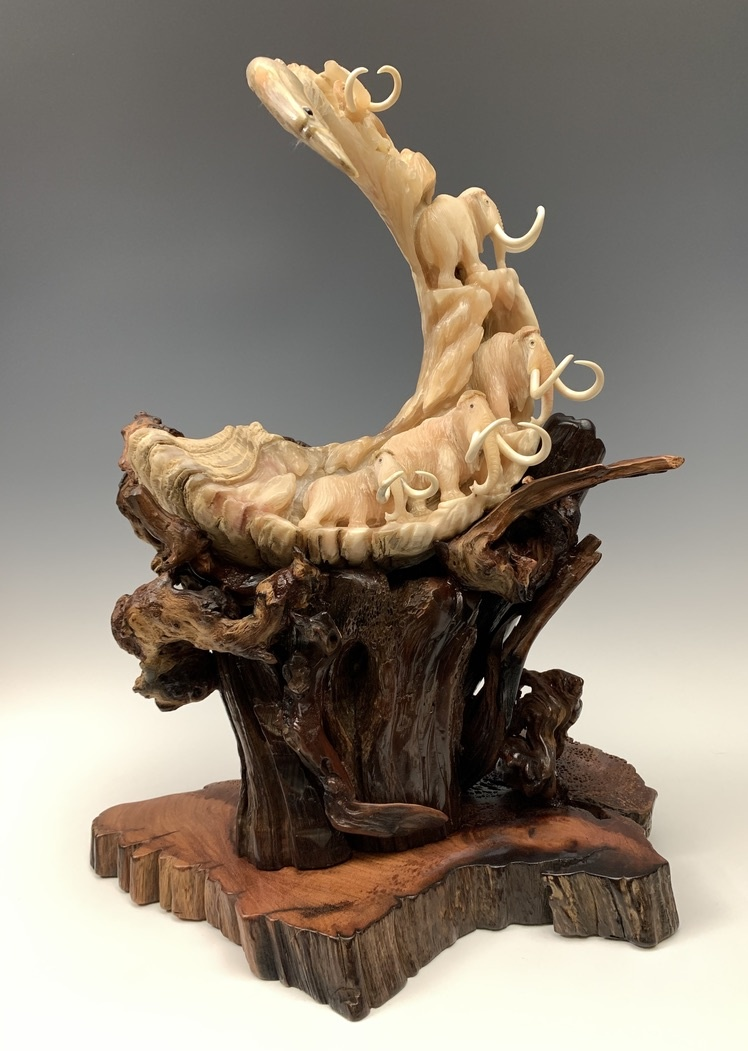 Mammoths - Alaskan Dall Sheephorn Sculpture #455