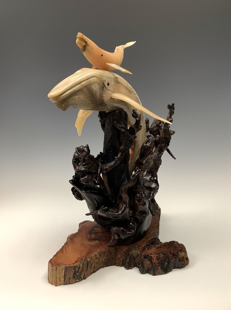 First Breath - Sheep Horn Humpback Whale Sculpture #453