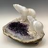 -Polar Bear and Cub - Selenite and Amethyst Sculpture #462