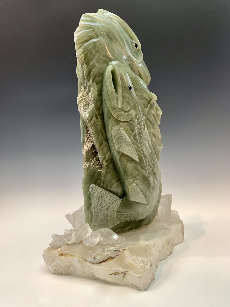 - Sky and Sea - Soapstone and Selenite Sculpture #460