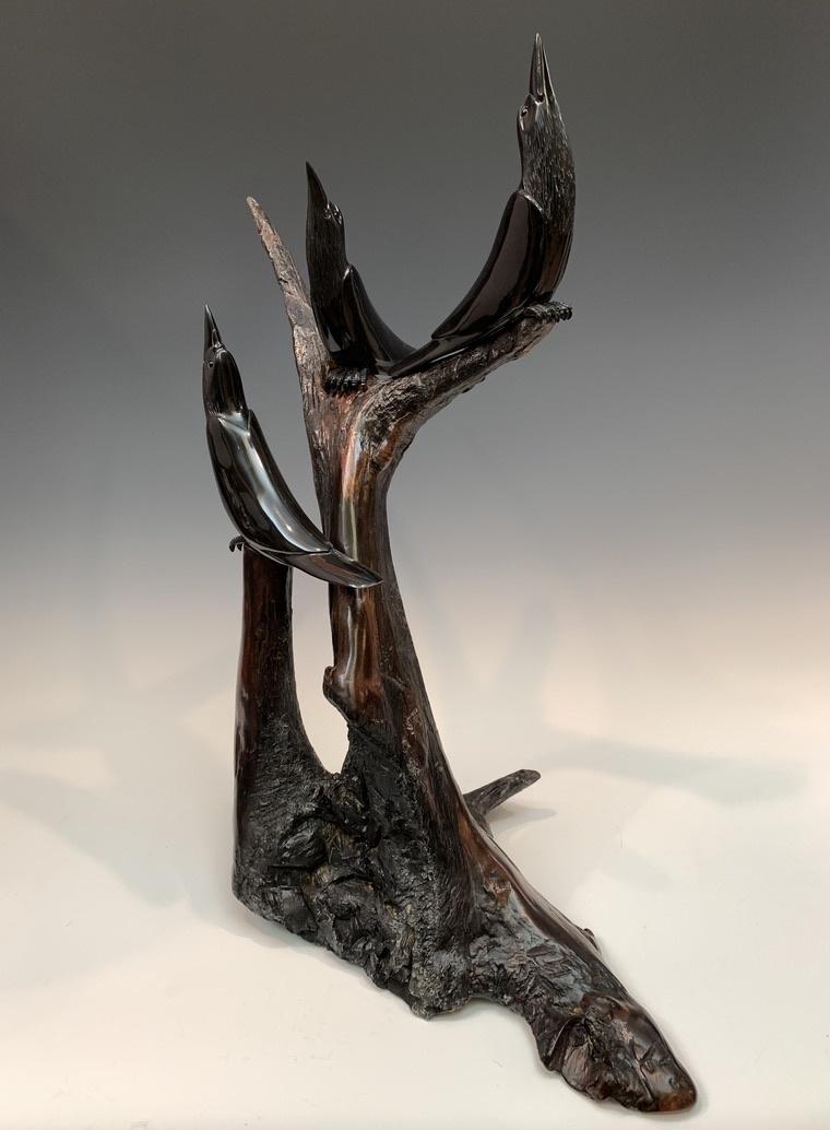 - Three Ravens - Buffalo Horn Sculpture #464