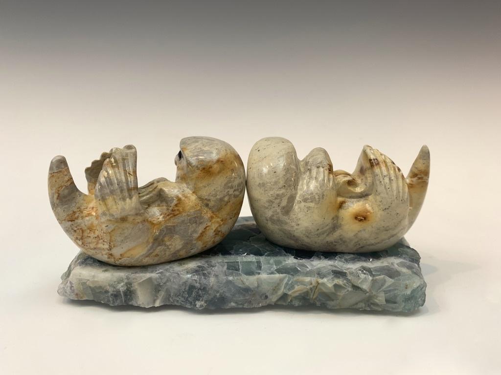 Sea Otter Family - Soapstone Sculpture #459