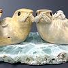 The Smiths - Sea Otter Family Soapstone on Fluorite #102 - SOLD