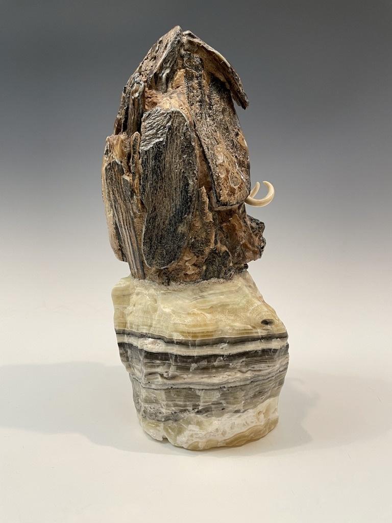 Emerging Mammoth - Fossil Mammoth Molar Sculpture #128