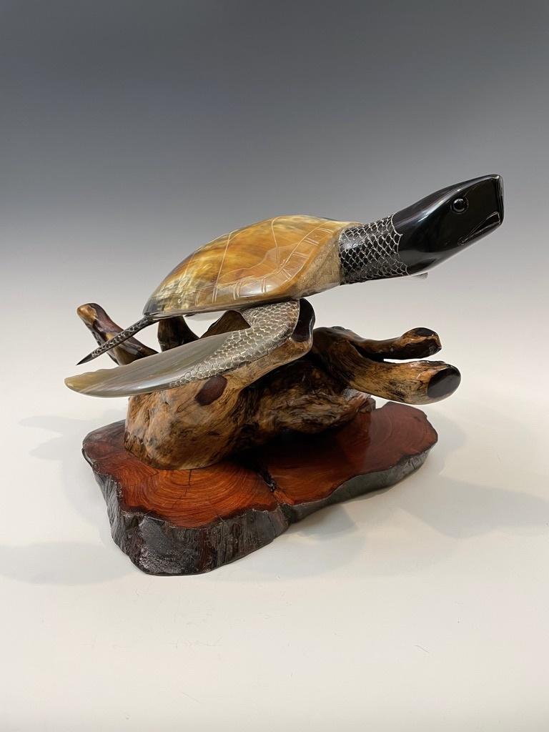 Swimming Turtle -Buffalo Horn Sculpture #121