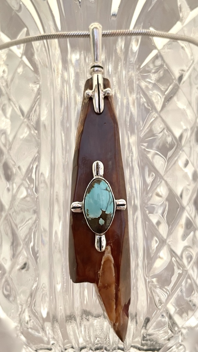 Fossil Ivory Artifact and Turquoise Pendant #516
