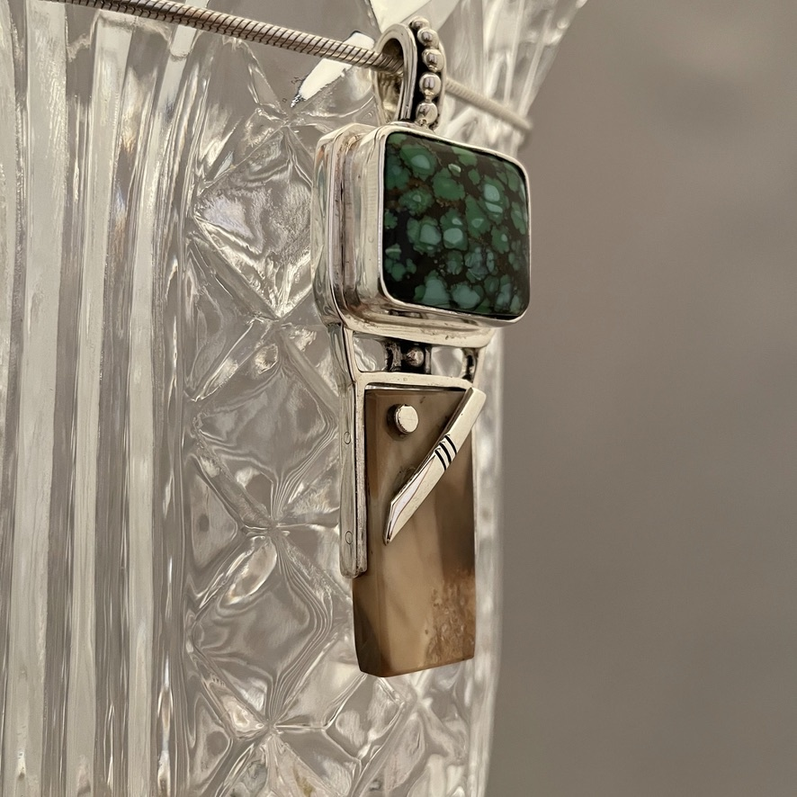 Fossil Ivory and Turquoise Pendant #520