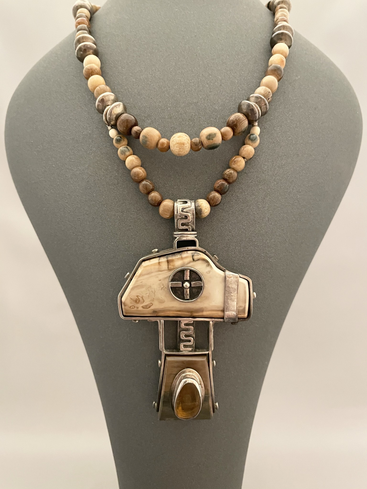 Mammoth Molar, Amber, Silver Necklace #258