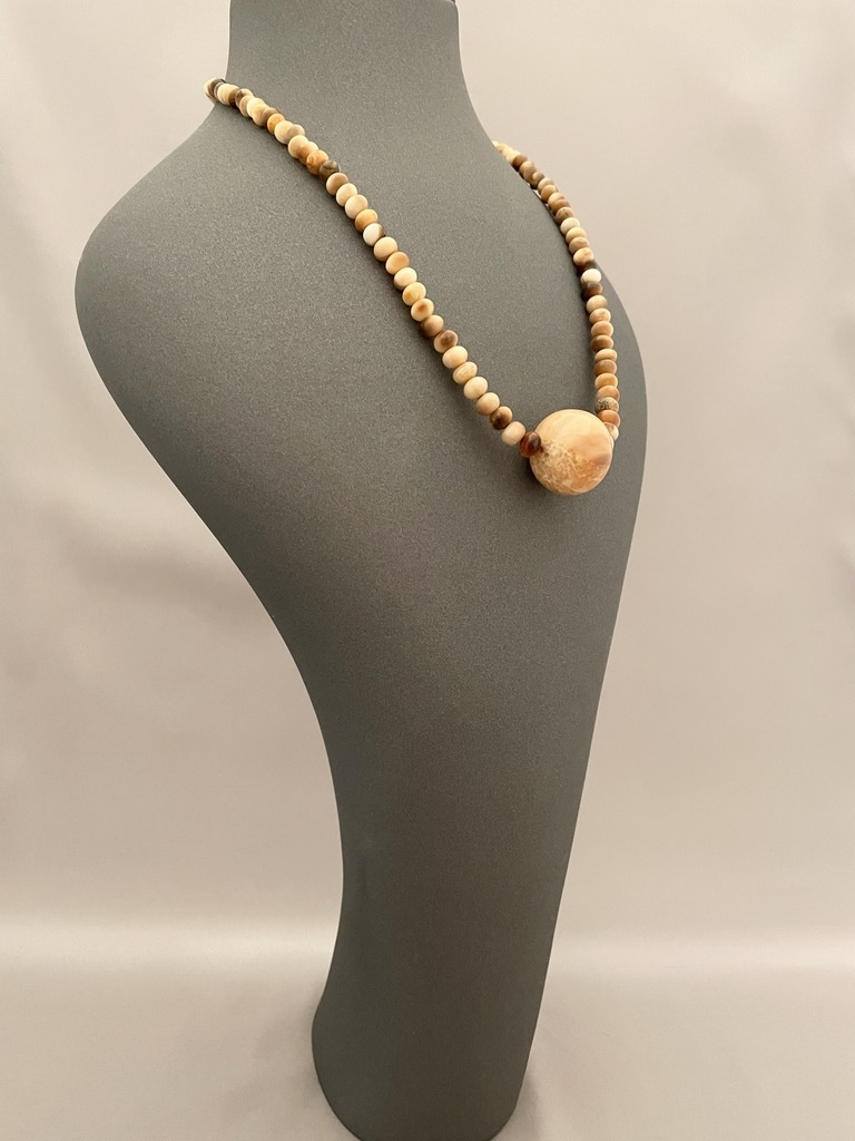Fossil Walrus Ivory Bead Necklace #266 -  SOLD