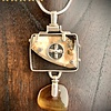 Fossil Mammoth Molar and Amber Pendant #256
