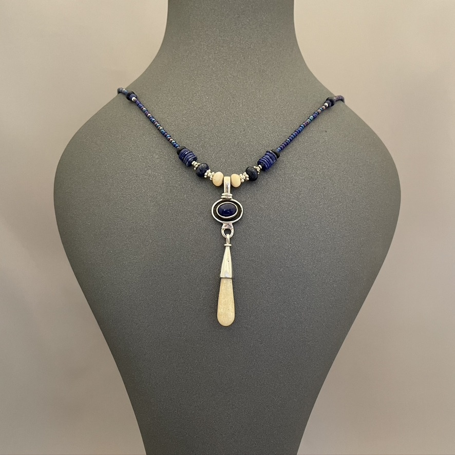 Fossil and Lapis Necklace #527