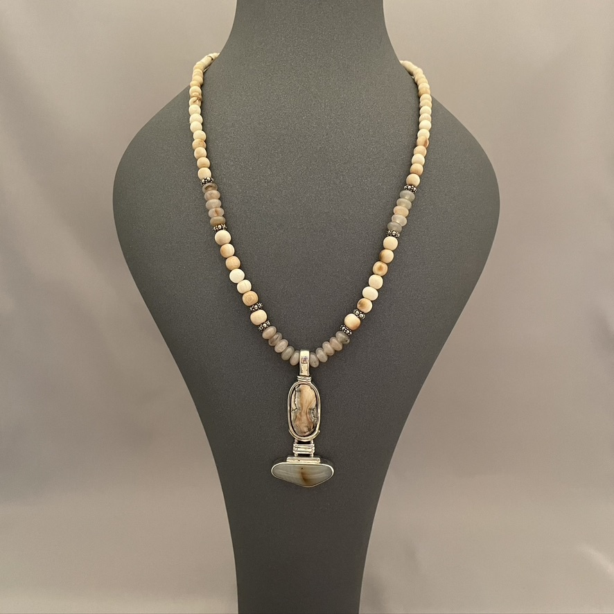 Fossil and Agate Necklace #530