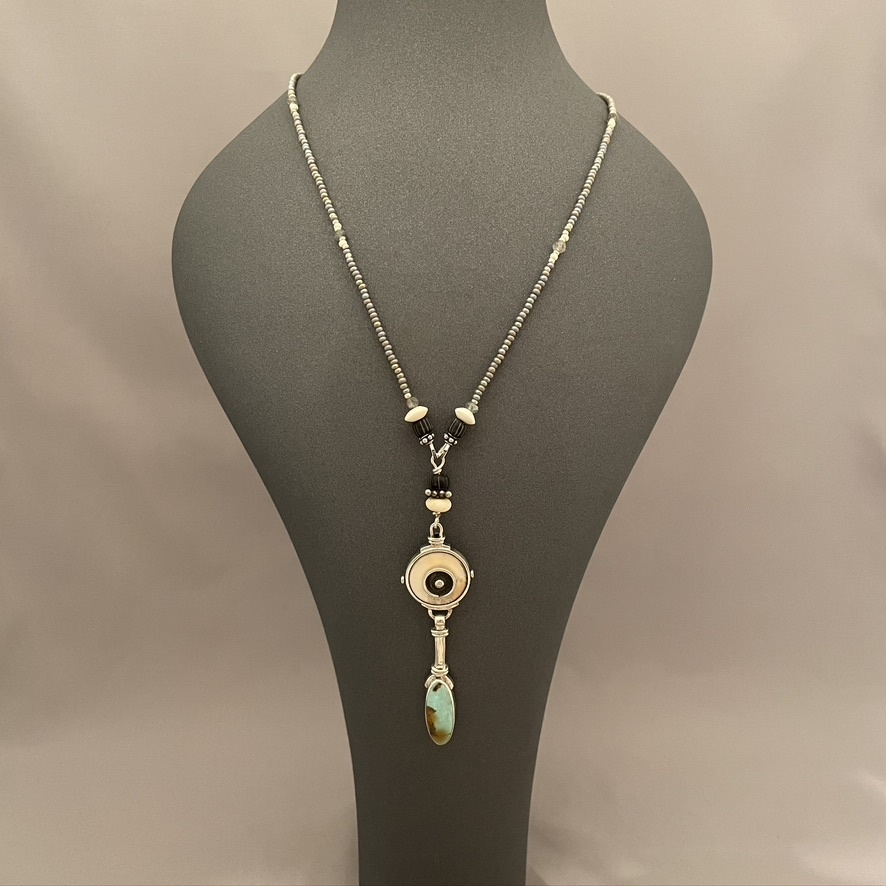 """Fossil & Turquoise 26"""" Long Necklace #532-SOLD"""