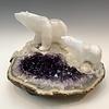 Polar Bear and Cub - Selenite and Amethyst Sculpture #462