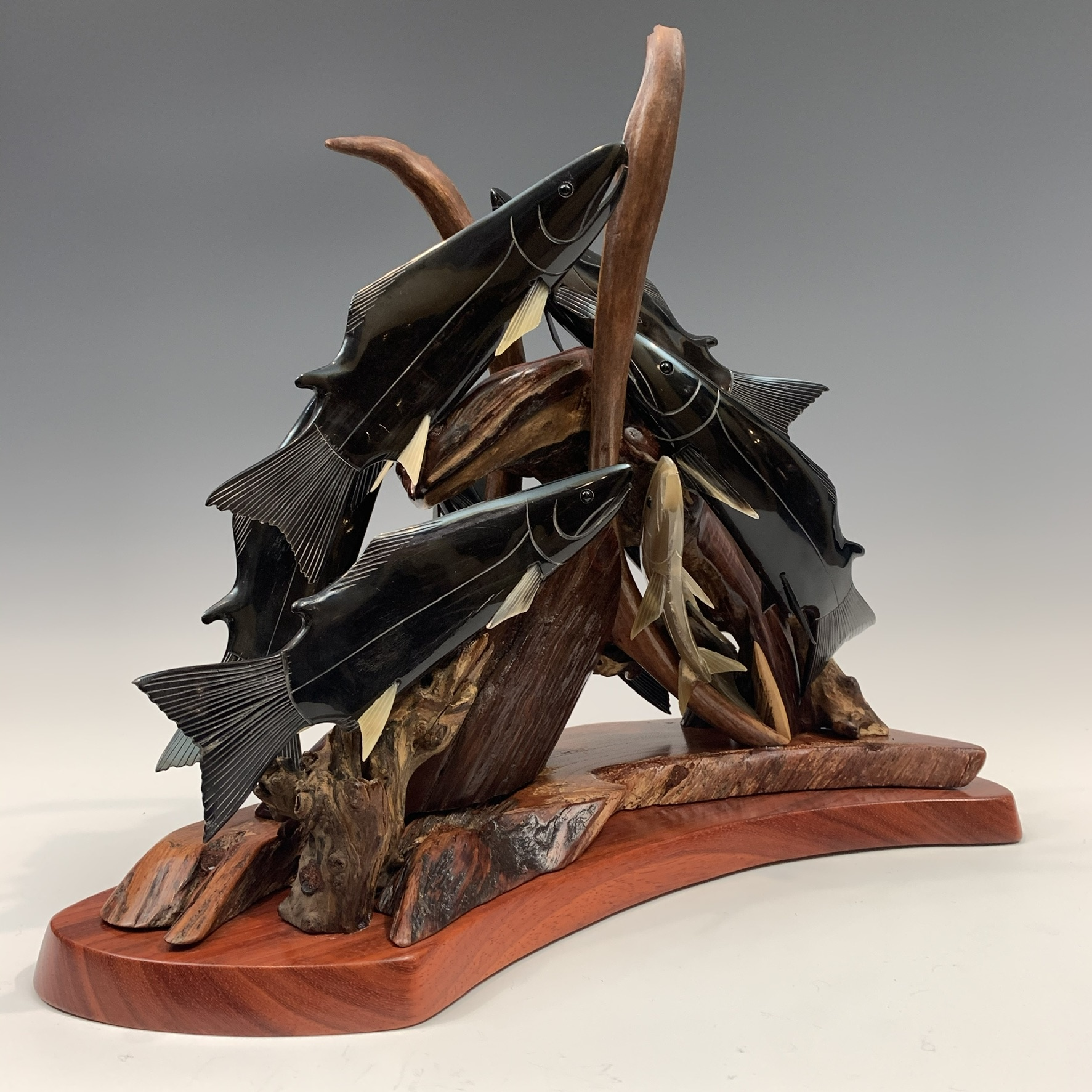 Spawning Salmon - Buffalo Horn and Antler Sculpture #400