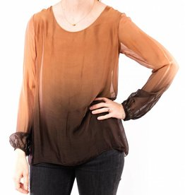 M MADE IN ITALY OMBRE DYED SILK LONG SLEEVE TOP