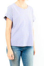 CUT LOOSE SHORT SLEEVE LINEN STRIPE TOP