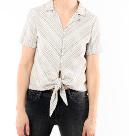 4OUR DREAMERS TIE FRONT LUREX STRIPE TOP