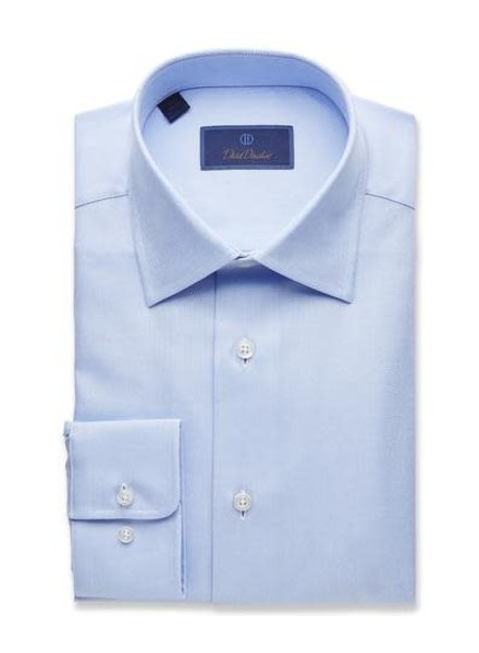 David Donahue David Donahue Solid Blue Dress Shirt Trim Fit