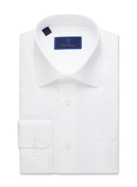 David Donahue David Donahue Solid White Dress Shirt  Regular Fit