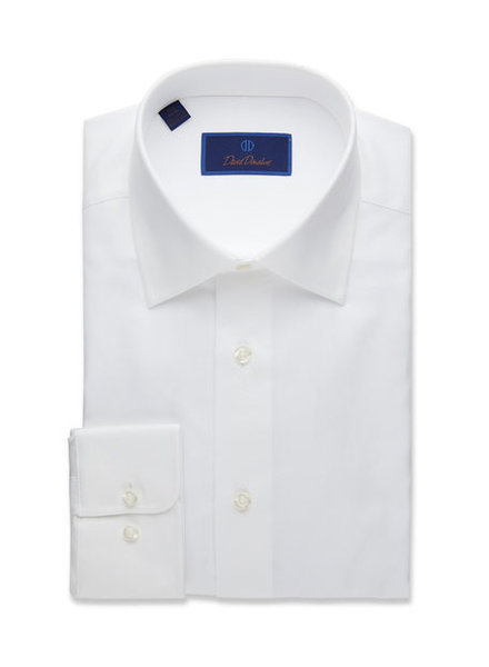 David Donahue David Donahue Solid White Dress Shirt Trim Fit
