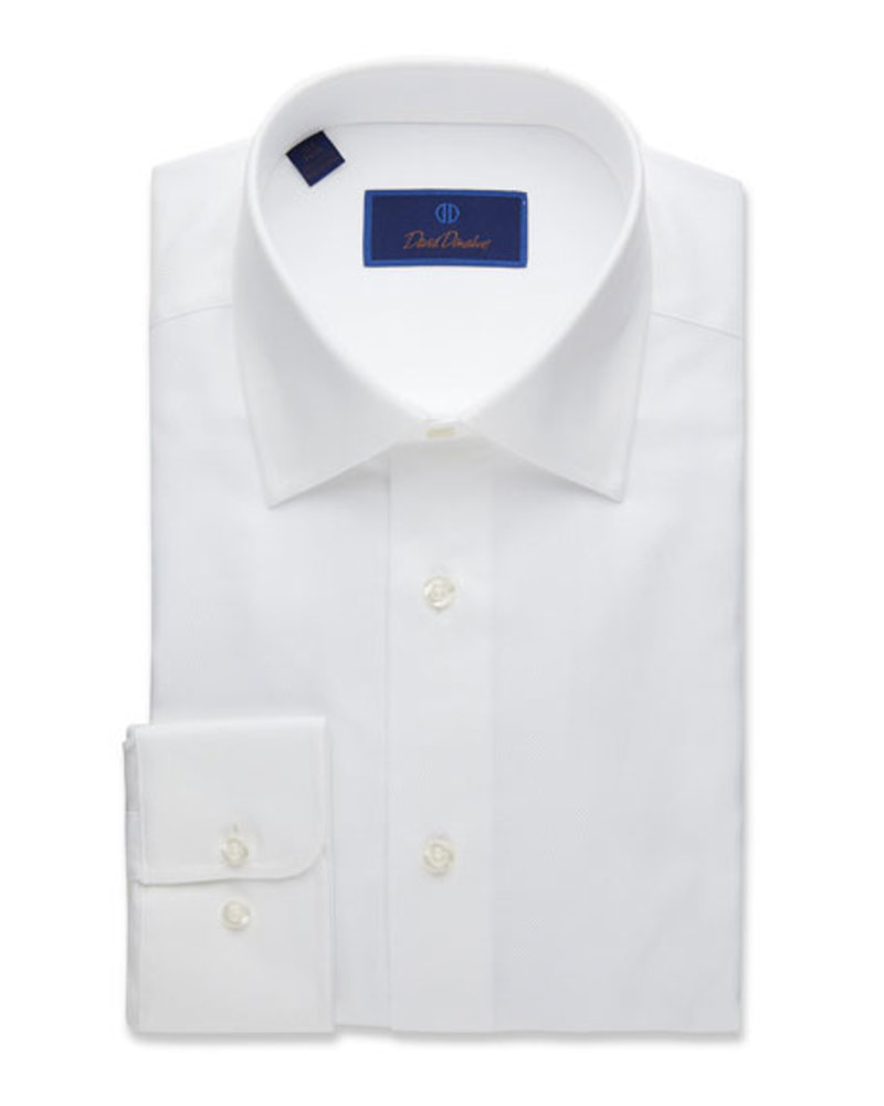 David Donahue David Donahue Solid White Dress Shirt Trim Fit