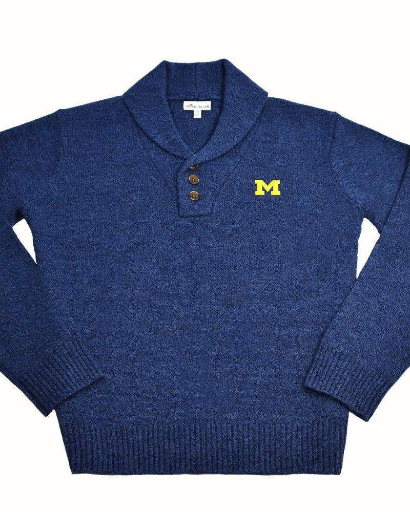 Peter Millar Peter Millar Block M Mntside 1/4 Button Mini Shawl Sweater