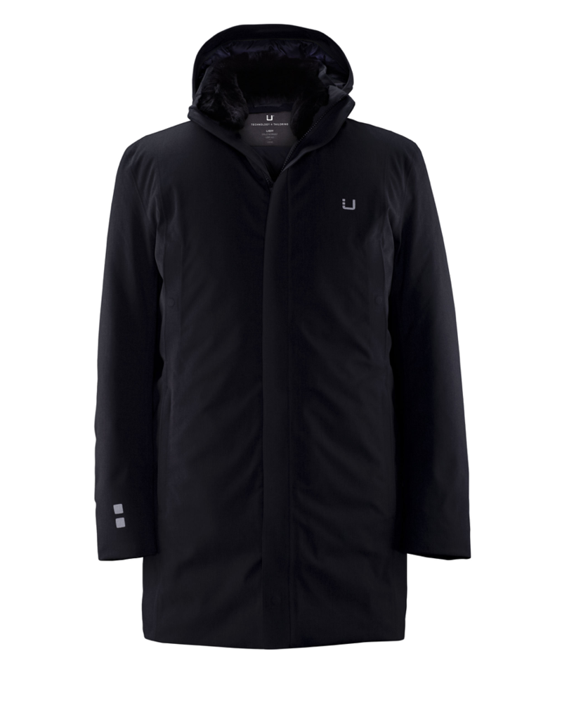 UBR Black Redox Parka with Detachable Hood