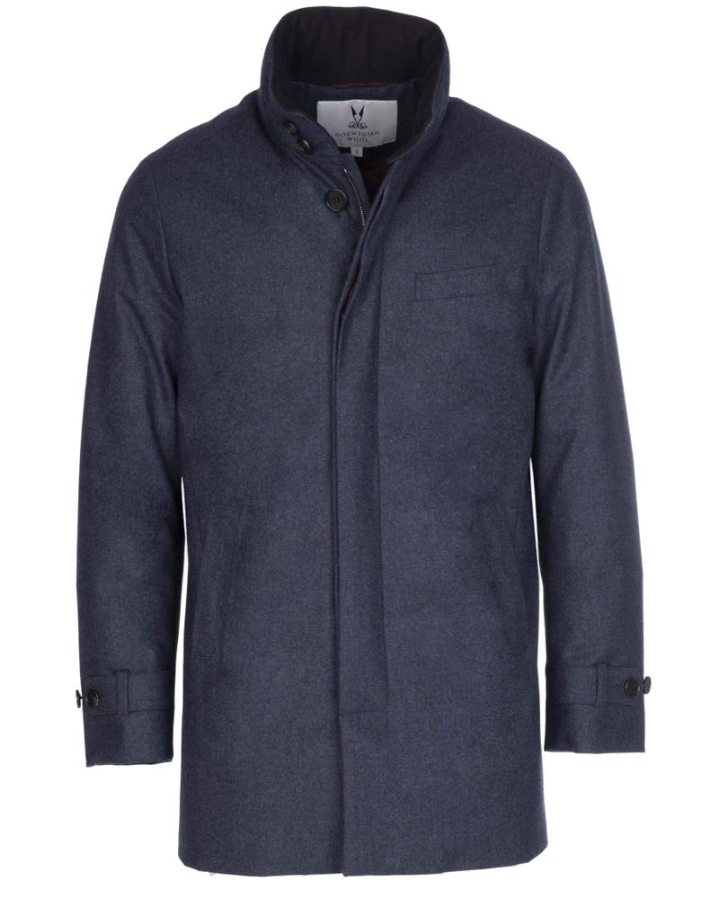 Norwegian Wool Norwegian Wool Stretch Wool Car Coat French Blue