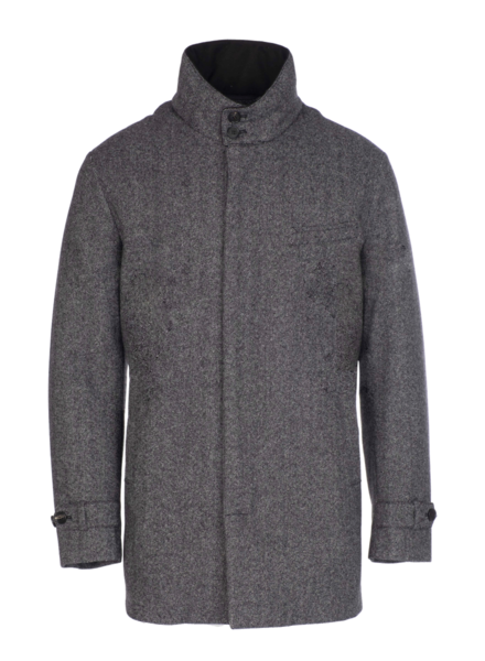 Norwegian Wool Norwegian Wool Car Coat Wool Cashmere Blend Grey Herringbone