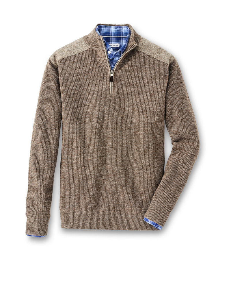 Peter Millar Peter Millar Mountainside Sweater 1/4 Zip w/Wool Shoulder Malt