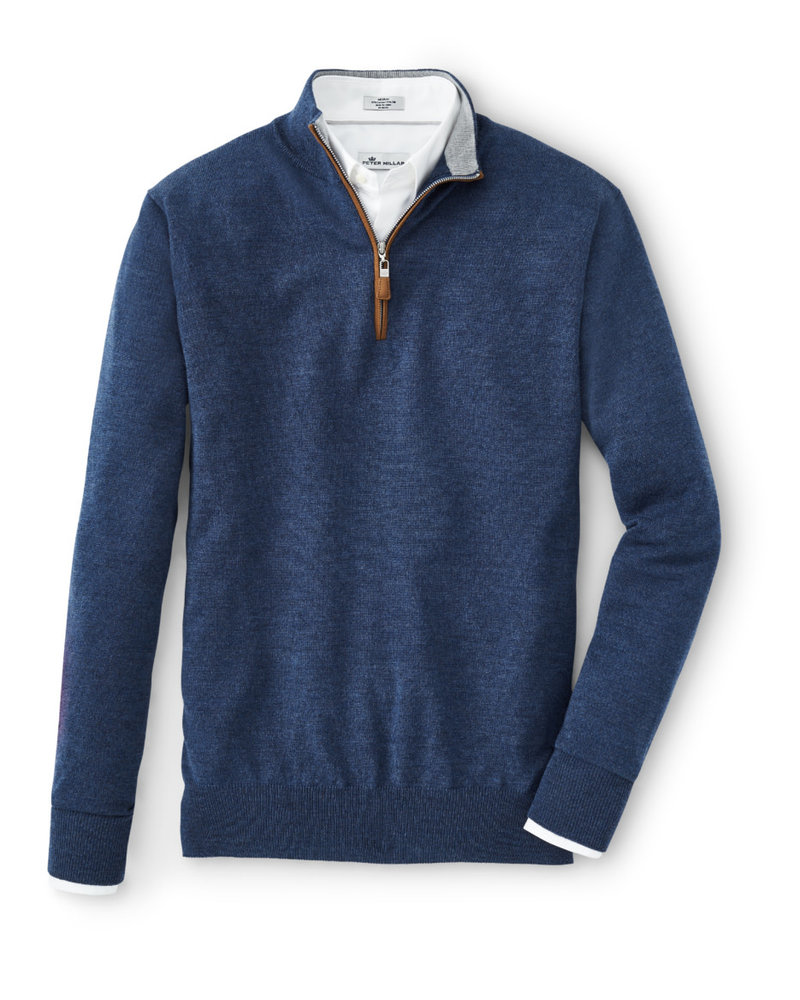 Peter Millar Peter Millar CrSoft Qtr Zip LS Sweater w/ Suede Finish