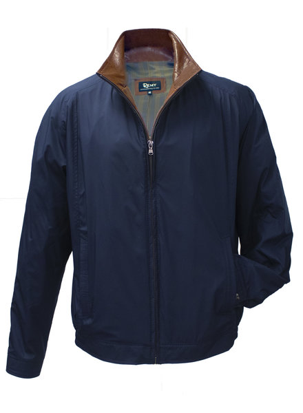 Remy Remy Royal/Timber Windbreaker w/Brown Leather Collar