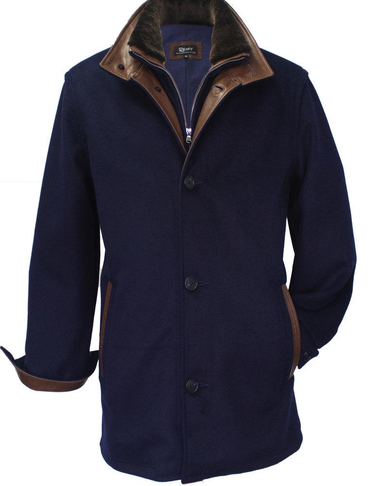 Remy Remy Car Coat Marine/Rustic Wool w/Leather Trim Collar