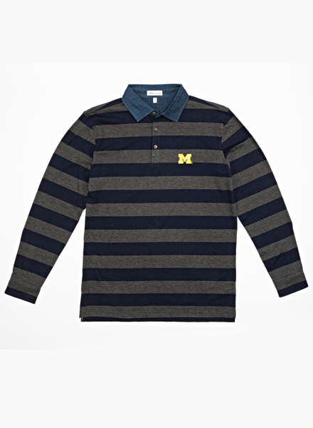 Peter Millar Peter Millar Block M Rugby  Stripe 1/4 Button Shirt
