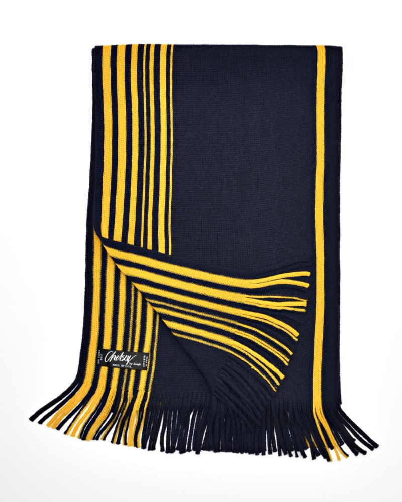 Chelsey Wool Maize & Blue Stripe scarf